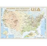 Karte der Destillerien USA in Postergröße (42 x 60cm)